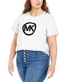 Plus Size Cotton Circle Logo T-Shirt