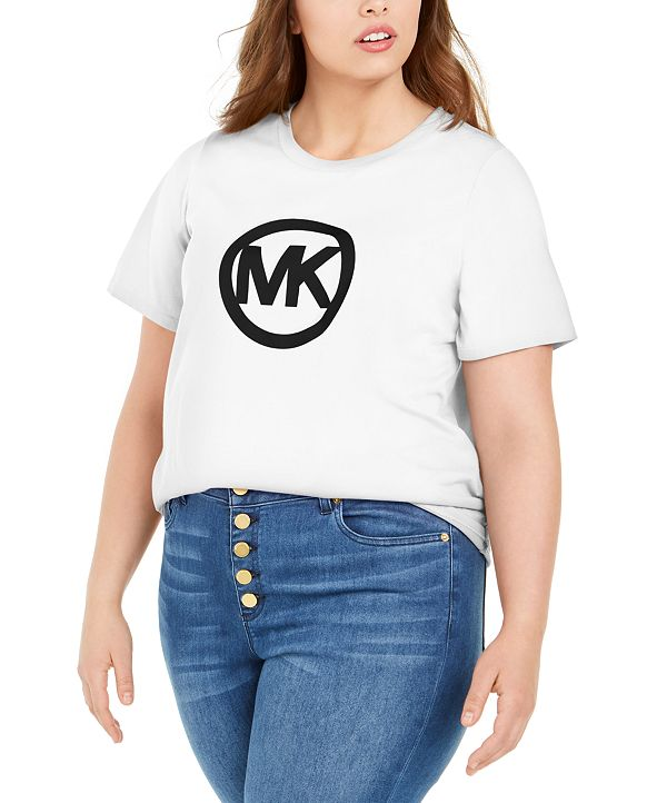 Michael Kors Plus Size Cotton Circle Logo T-Shirt
