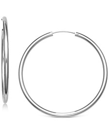 "Large Endless Hoop Earrings in  Sterling Silver, 2"", Created for Macy's"