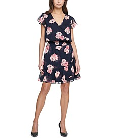 Floral-Print Chiffon Fit & Flare Dress