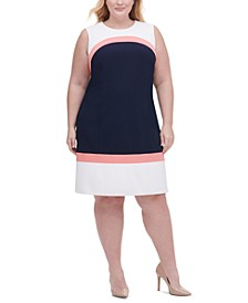 Plus Size Colorblocked Scuba Crepe Dress