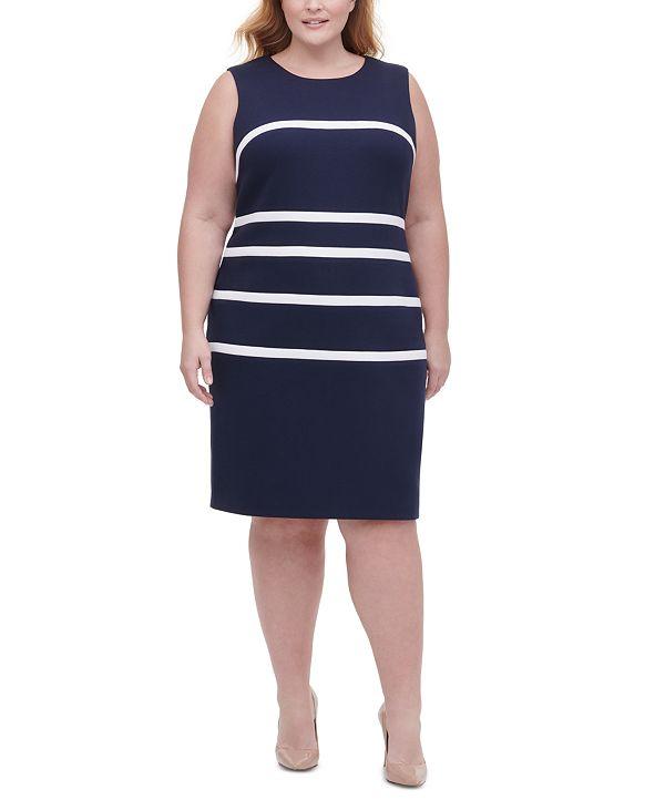 Tommy Hilfiger Plus Size Piqué-Knit Striped Sheath Dress