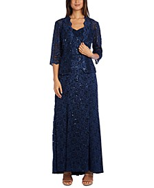 Sequinned-Lace Gown and Jacket