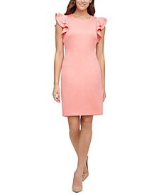 Petite Scuba Sheath Dress with Flutter Sleeves