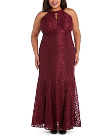 Plus Size Lace Scalloped-Keyhole Gown