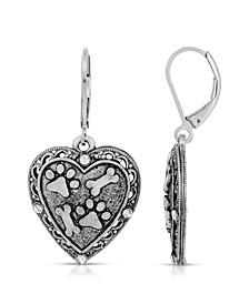 Silver Tone Heart Paw and Bones Drop Earrings