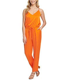 Drawstring-Waist Sleeveless Jumpsuit