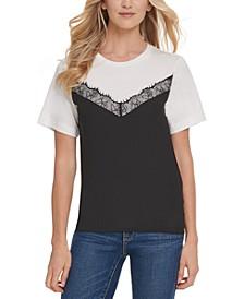 Lace-Trim Colorblocked T-Shirt