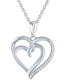 "Diamond Accent Double Heart Pendant Necklace in Sterling Silver, 16"" + 2"" extender"
