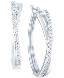Diamond Small Crossover Hoop Earrings (1/10 ct. t.w.) in Sterling Silver, 0.95""