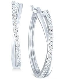 "Diamond Small Crossover Hoop Earrings (1/10 ct. t.w.) in Sterling Silver, 0.95"""