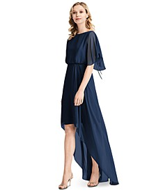 Flutter-Sleeve High-Low A-Line Dress