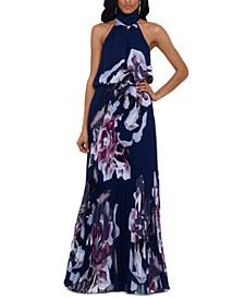 Floral-Print Chiffon Halter Gown
