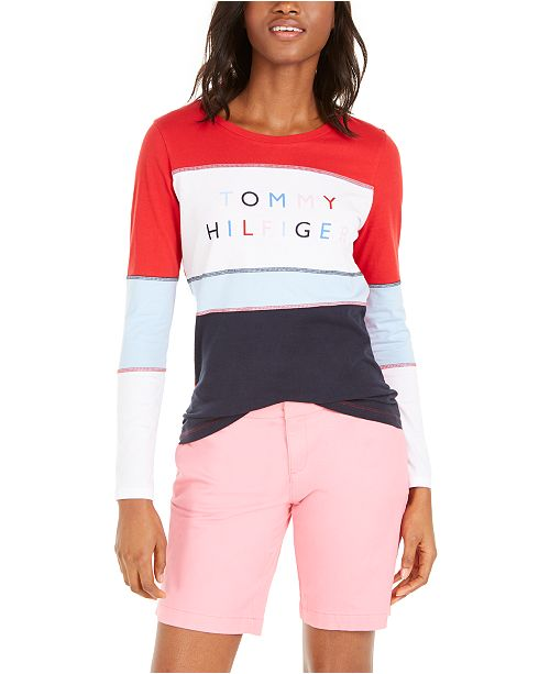 Tommy Hilfiger Cotton Colorblocked Logo Top
