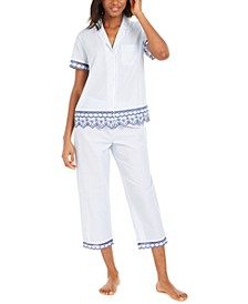 Cotton Embroidered Stripe Capri Pants Pajamas Set, Created For Macy's