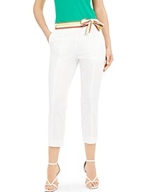 Striped-Belt Ankle Pants