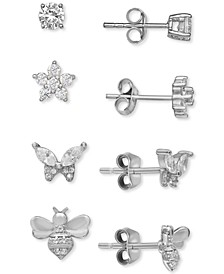 4-Pc. Set Cubic Zirconia Garden-Themed Stud Earrings in Sterling Silver, Created for Macy's