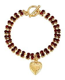 Rhinestone Heart Charm Toggle Bracelet