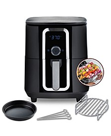 7Qt Teflon-Free Ceramic Family-Size Air Fryer with 2-Tier Stainless Steel Rack, Baking Pan, Skewers and Recipe Cookbook