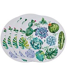 Succulent Plants Design Charger Plates Set of 4