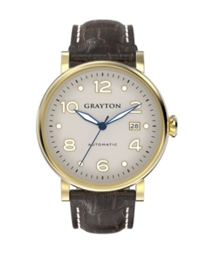 Men's Classic Collection Brown Crocodile-Embossed Leather Strap Watch 44mm
