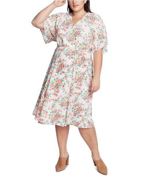 1.STATE Trendy Plus Size Floral-Print Wrap Dress