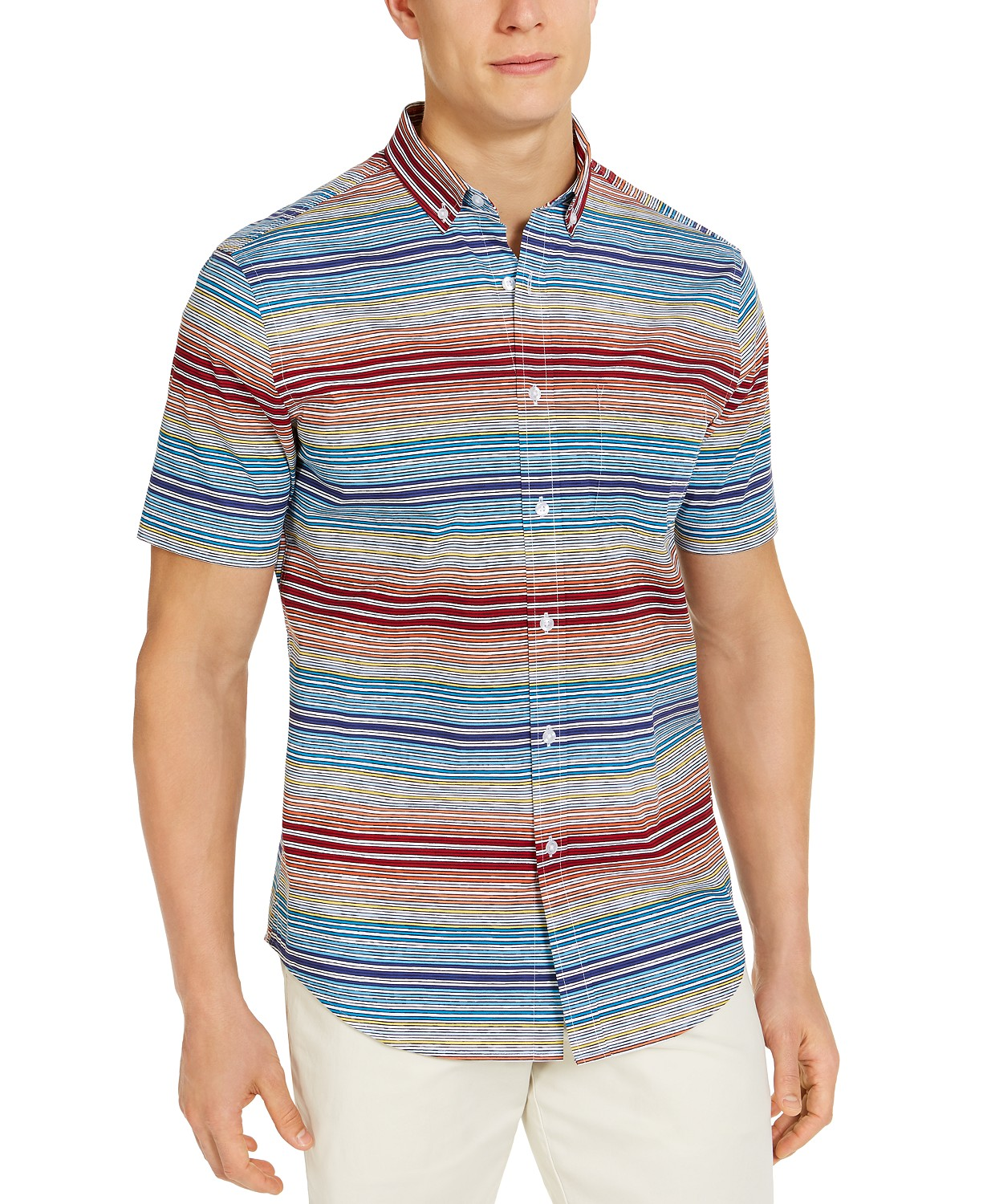 Club Room Men's SoCal Stripe Short Sleeve Shirt, Created for Macy's