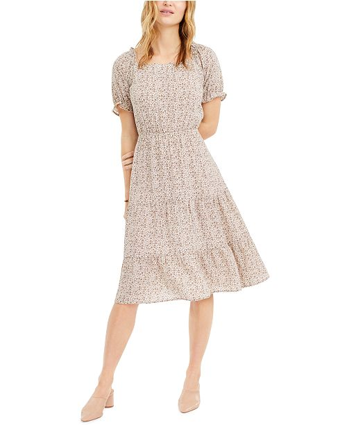 Monteau Petite Floral-Print Midi Dress
