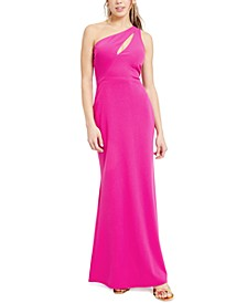 Juniors' One-Shoulder Cutout Gown