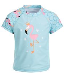 Toddler Girls Flamingo-Print Short-Sleeve Rash Guard