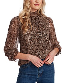 Mock-Neck Leopard-Print Top