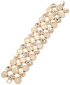 Gold-Tone Crystal & Mother-of-Pearl Lace Triple-Row Flex Bracelet
