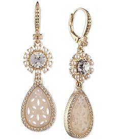 Gold-Tone Crystal & Mother-of-Pearl Lace Double Drop Earrings