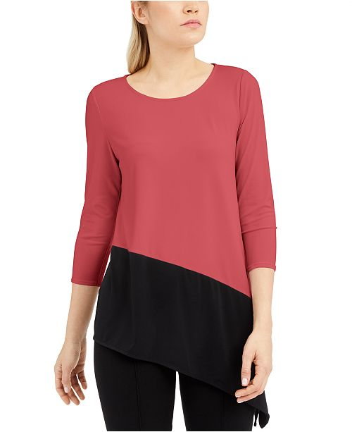 Alfani Petite Colorblocked Asymmetric Top, Created for Macy's