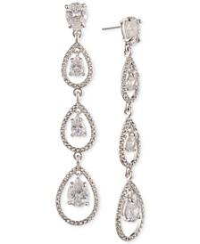 Silver-Tone Crystal Linear Drop Earrings