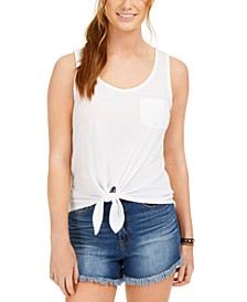 Juniors' Tie-Front Pocket Tank Top