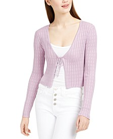 Juniors' Pointelle-Knit Cropped Cardigan