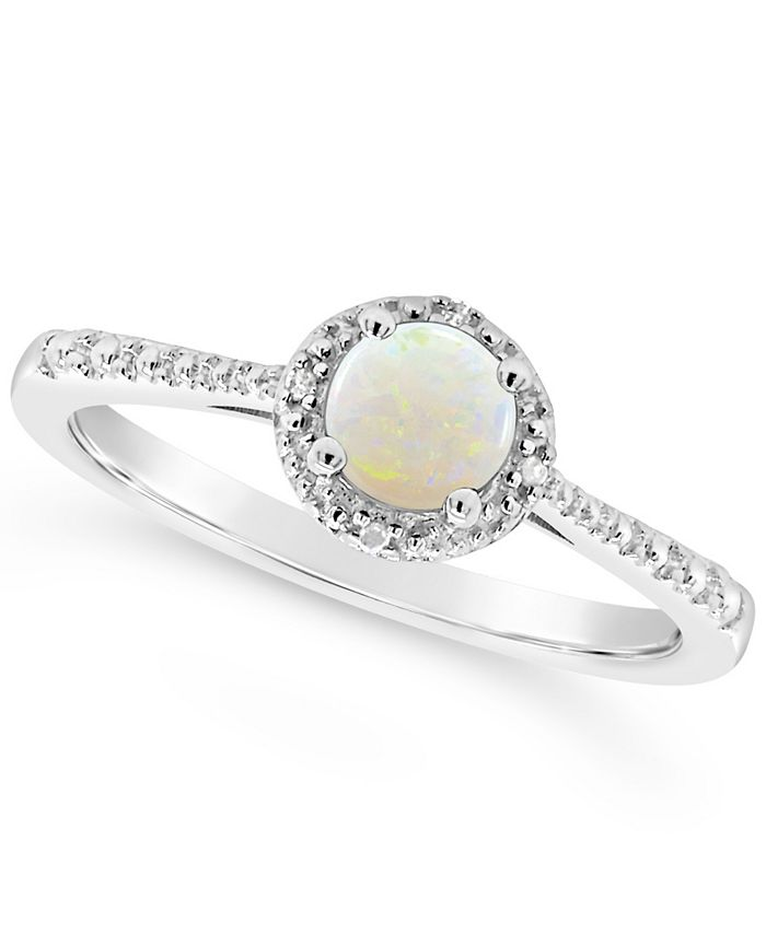 Macy's - Opal (1/3 ct. t.w.) and Diamond Accent Ring in Sterling Silver