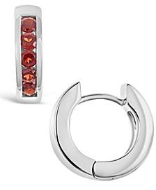 Garnet (1 ct. t.w.) Huggie Hoop Earrings in Sterling Silver (Also Available in Peridot)