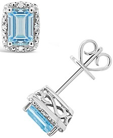 Aquamarine (1 ct. t.w.) and Diamond Accent Stud Earrings in Sterling Silver (Also Available in Opal)