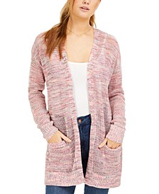 Juniors' Open-Knit Long Cardigan
