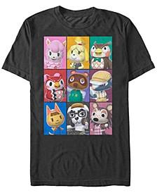 Men's Nintendo Animal Crossing Towns Folk Yearbook Photo Style Poster Short Sleeve T-shirt