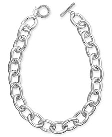 "Silver-Tone Pavé Large Link 18"" Collar Necklace, Created for Macy's"