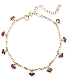 Gold-Tone Pavé Heart Charm Ankle Bracelet, Created for Macy's