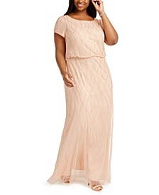 Plus Size Beaded Blouson Gown