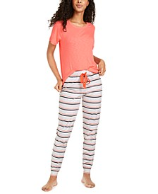 Ribbed Pajama T-Shirt & Pajama Jogger Pants, Created for Macy's