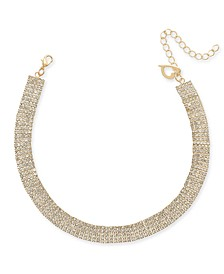 "Gold-Tone Crystal Pavé Choker Necklace, 13"" + 3"" extender, Created for Macy's"