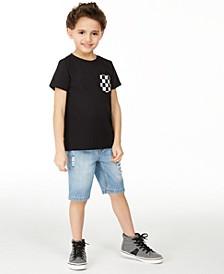 Little Boys Checker Pocket T-Shirt & Capri Destroyed Denim Shorts, Created for Macy's