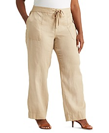 Plus-Size Linen Wide-Leg Pants