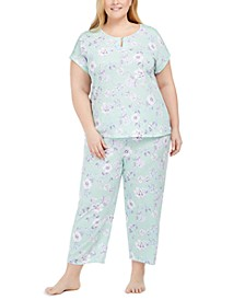 Plus Size Cotton Floral-Print Pajama Set, Created for Macy's